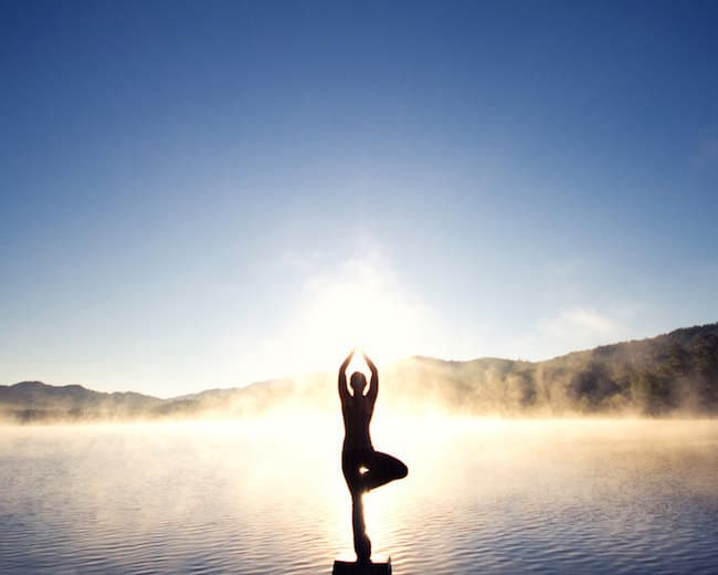 Yoga Pose in mountain landscape