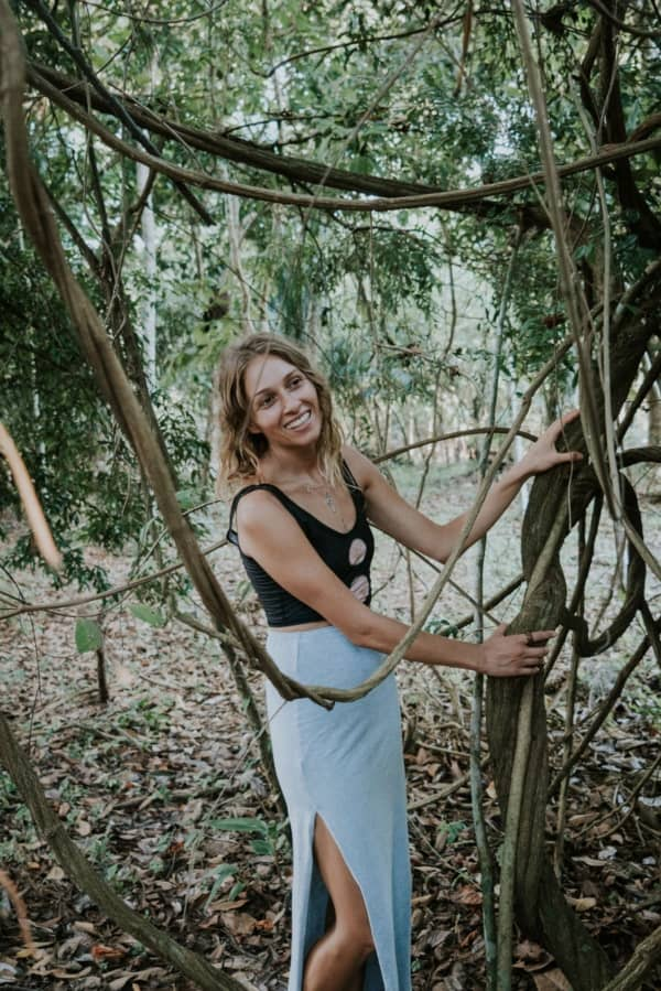 Posing in front of Ayahuasca Vines